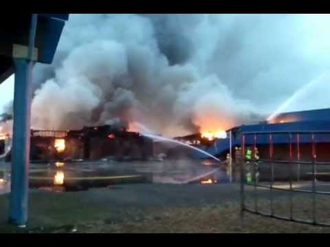 Crestline Elementary School on fire