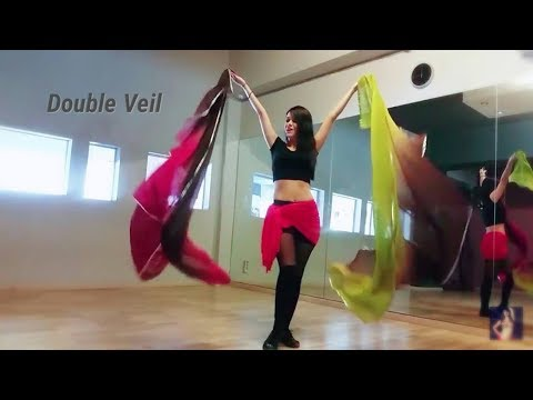 How to Belly dance with Double Veil  | Technique & Combination with Lia Verra
