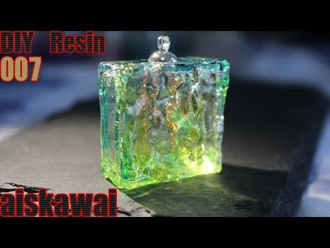 [Resin Tutorial] Using water waves resin mold to diy a  cute jelly cube pendant /DIY resin