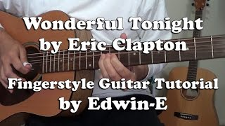 "Guitar Tutorial: ""Wonderful Tonight"" by Eric Clapton Fingerstyle Guitar Solo Cover (w TABs)"