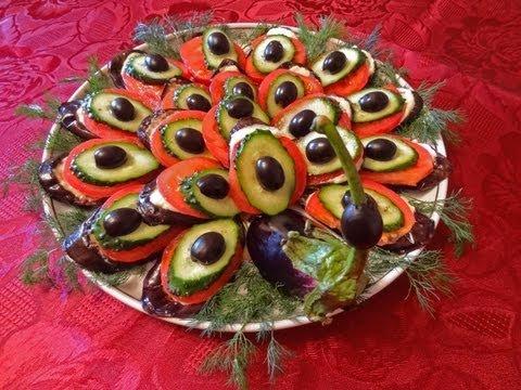 Салат  Павлиний хвост. Красивое оформление салатов.