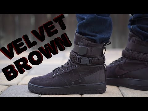 "Nike Special Field Air Force 1 ""Velvet Brown / Chocolate"" on feet"