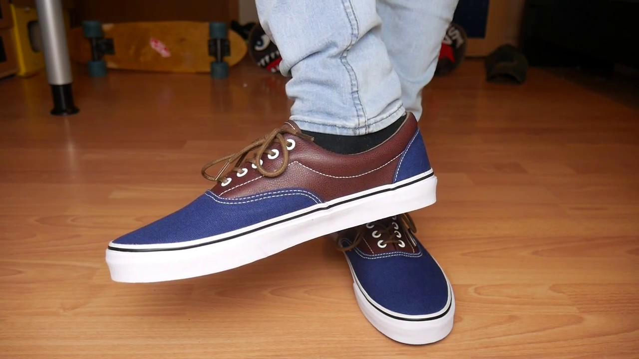 594fe3eeab Vans Era Leather BLUE - On Feet - YouTube