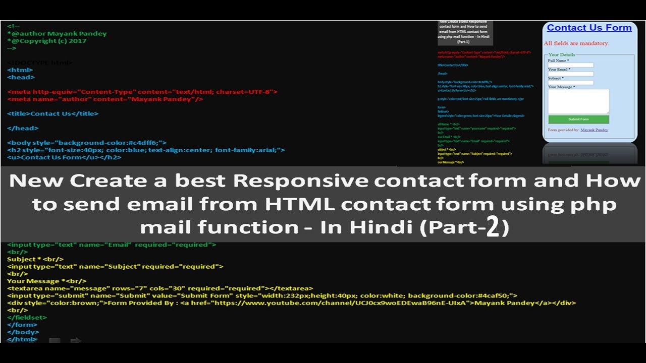 New How to send email from HTML contact form using php mail function -  Detailed In Hindi (Part-2)