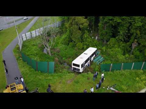 Сочи, Адлер 07.05.2017 Авария, автобус улетел с дороги