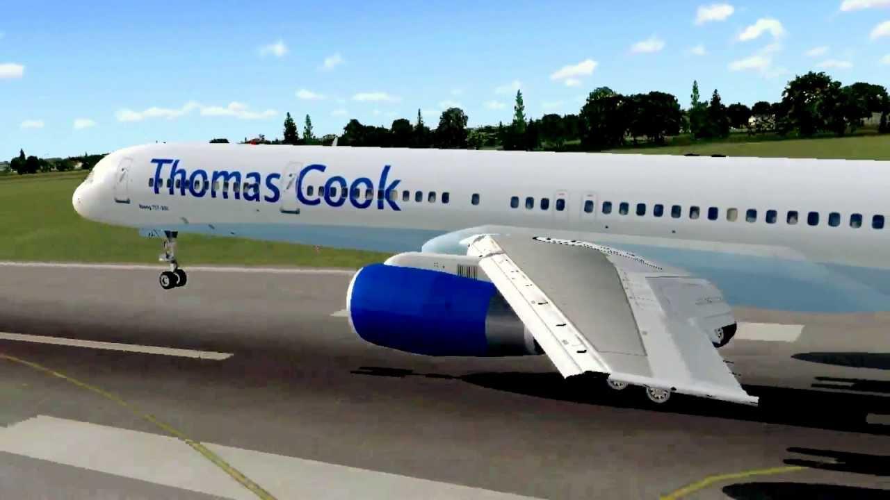 FSX Thomas Cook Boeing 757-300 Gatwick Airport Landing