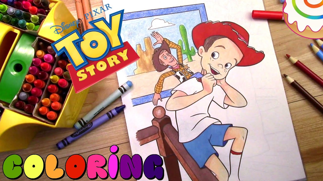 toy story coloring page sheriff woody u0026 andy youtube