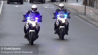 Police Motorcycles Responding Urgently in Paris - French Sirens