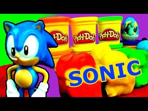 Play Doh Sonic The HedgeHog Surprise Eggs Peppa Pig Flying Olaf ...