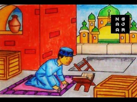 Gambar Mewarnai Muslim Masjid Dan Anak Dengan Crayon Bagus Banget