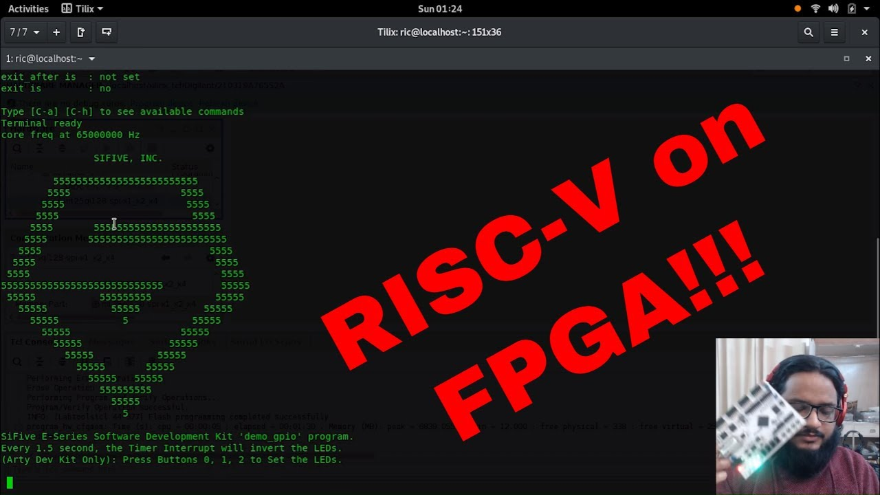 Playing with RISC-V SiFive E300 on Arty A7 FPGA Development Board