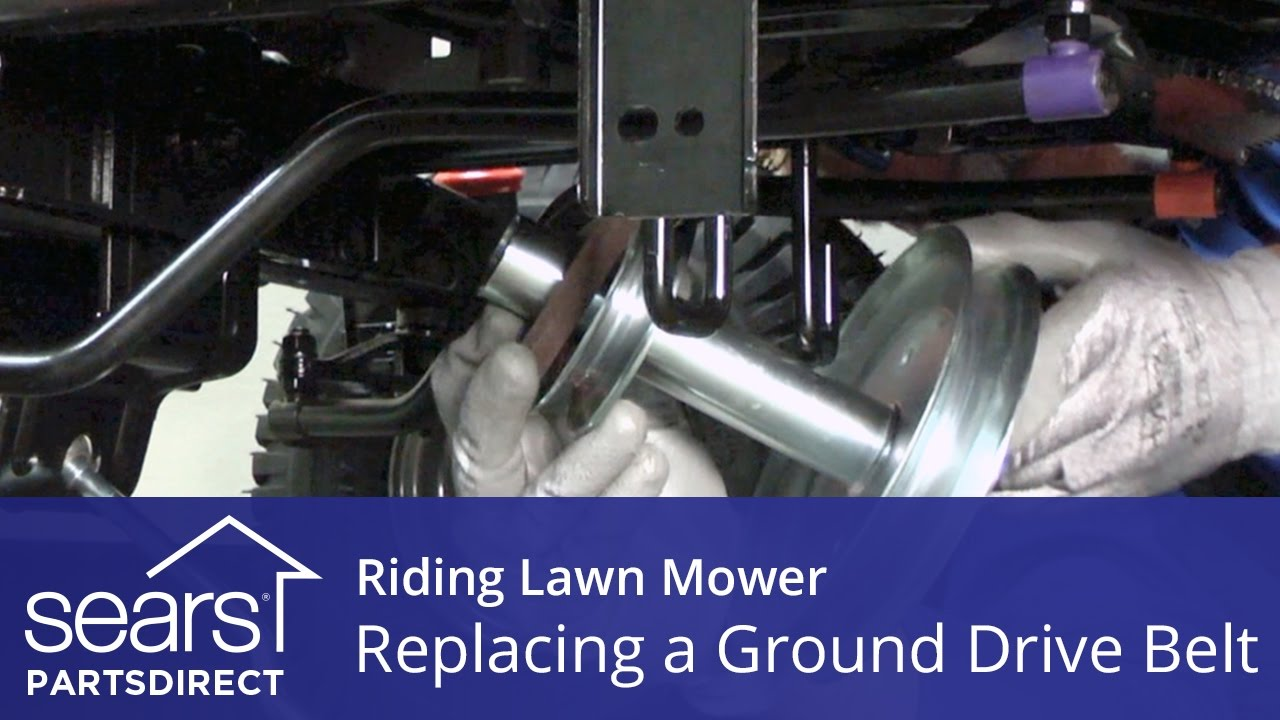 medium resolution of replacing a ground drive belt on a riding lawn mower