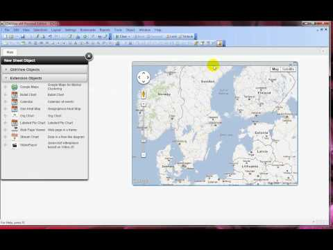 How to add the Google Maps extension objects in QlikView