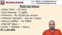 Insurance - Paid Up Value - Formula & Calculation