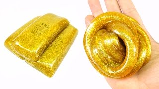 DIY Fine Gold Slime ! Golden Glitter Slime | MonsterKids