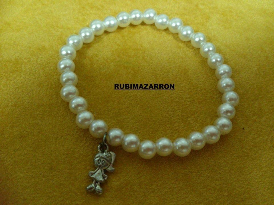 DIY Como hacer pulsera brazalete elastica con perlas.