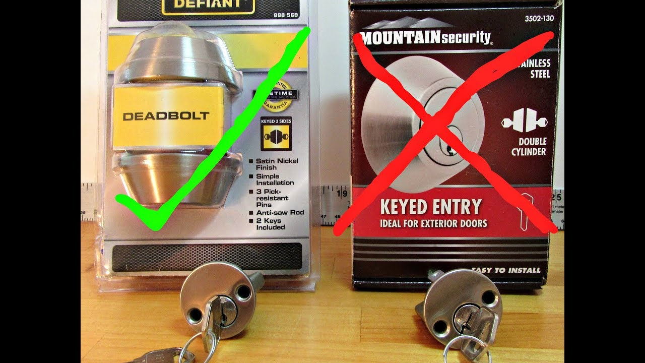 DEFIANT DEADBOLT EXTERIOR DOOR LOCK PICKED OPEN U0026 Compare To Mountain  Security Deadbolt Lock