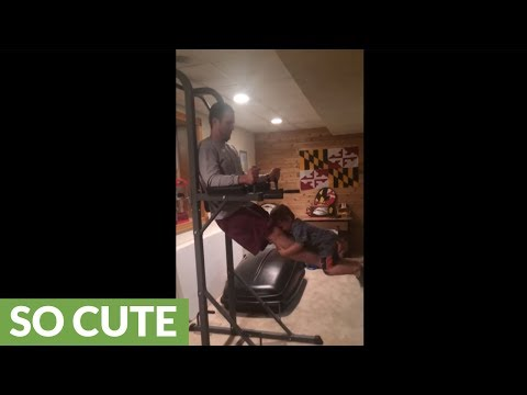 Dad gets creative with at-home workout