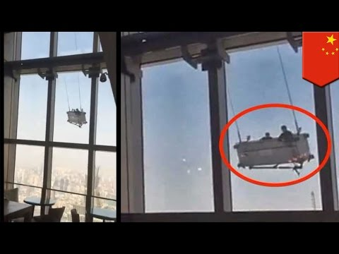 Window washer falls: platform flies out of control 91 floors up at Shanghai World Financial Center