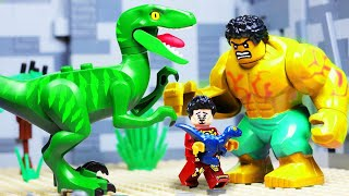 LEGO Dinosaur vs Avengers Hulk in Jurassic World Toy Animation