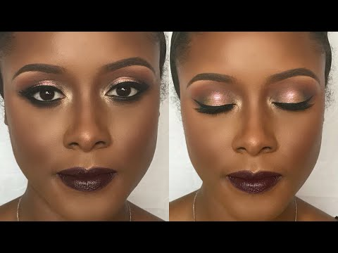 Fall makeup for Darker skin/black women | Holiday Glam with Vampy Lipstick ft. Drugstore foundation