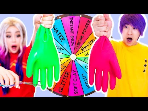 Mystery Wheel Of Slime GIANT GLOVES Challenge! GF vs BF