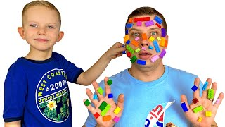 Martin and dad play with lego Lego hands Pretend Play