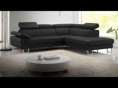 Canapé d\'angle cuir COLISEE - YouTube