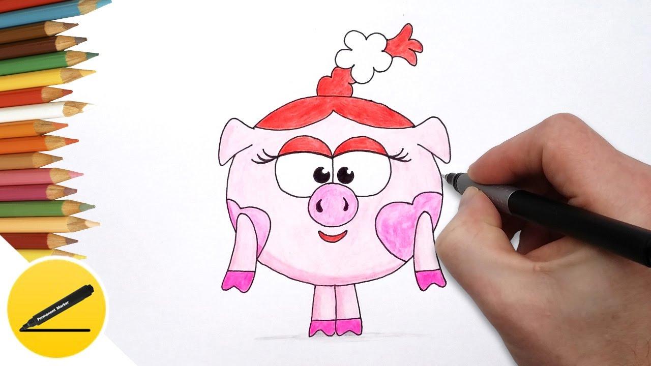 Как Нарисовать Смешарика Нюшу поэтапно - Учимся рисовать Смешарика