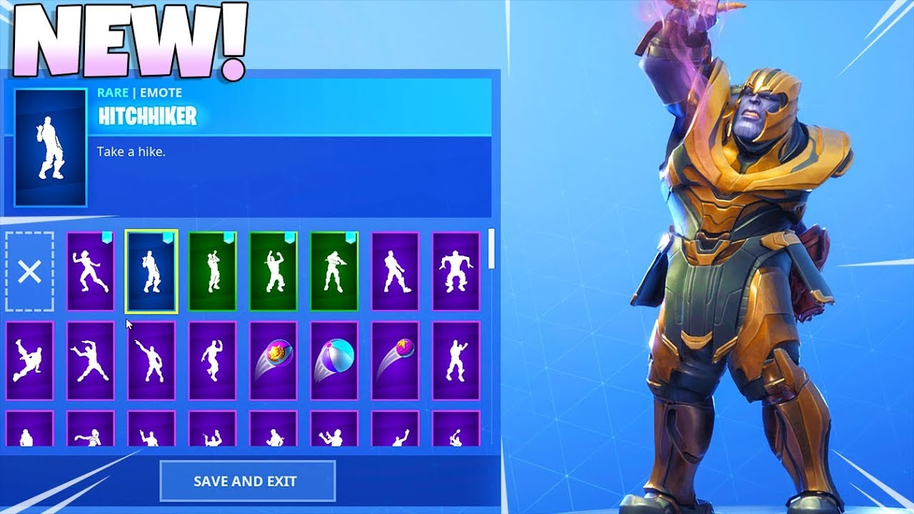 Thanos Skin With All New Leaked Dance Emotes Showcase Fortnite