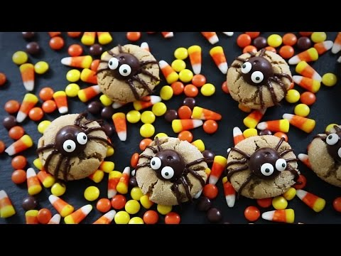 halloween recipes how to make peanut butter spider cookies