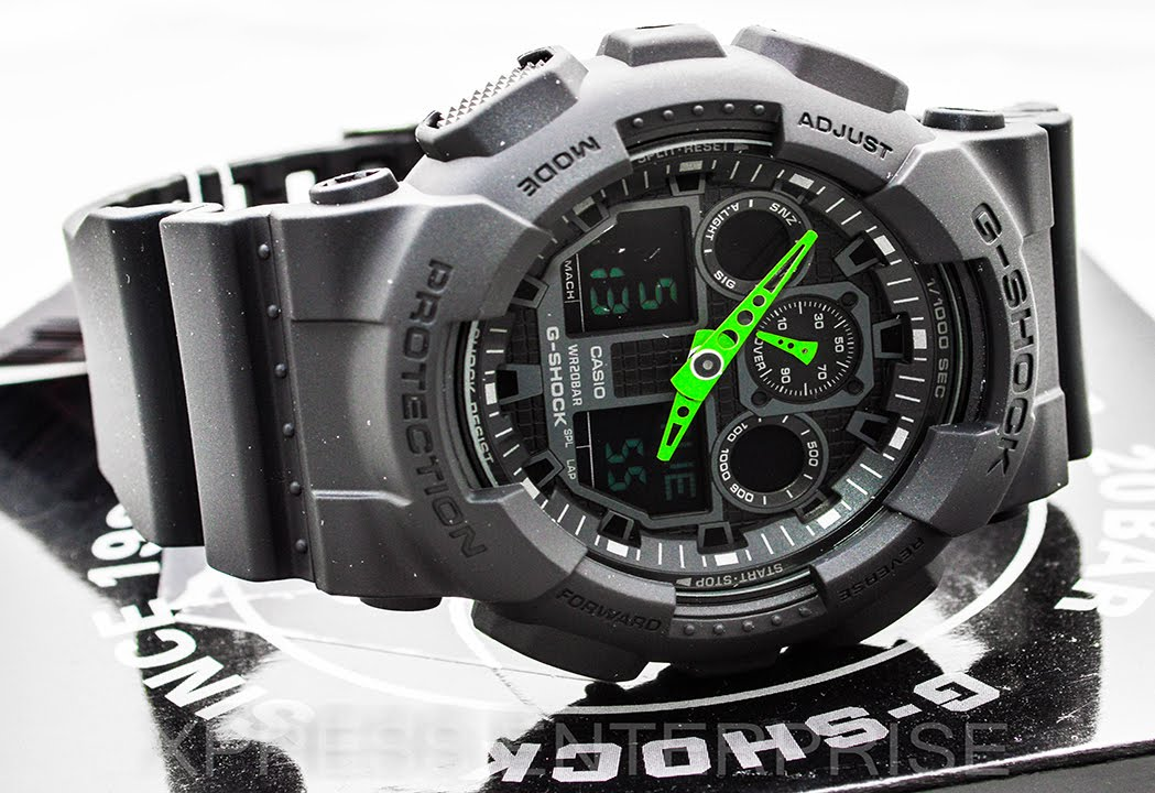 info for d3f2c 66995 Casio GSHOCK Neon Green GA100-1A3 REVIEW   How To Set Time   LIGHT DISPLAY  - YouTube