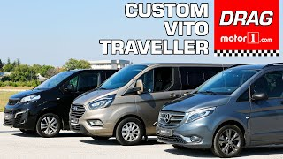 Drag & Rolling Race | Mercedes-Benz Vito vs. Peugeot Expert Traveller vs. Ford Tourneo Custom