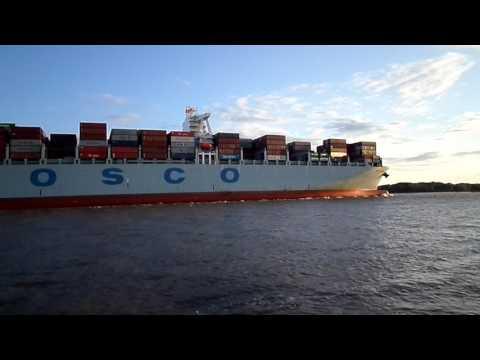 """Shipspotting: COSCO Netherlands at """"Willkomm-Höft"""" in Wedel / Port of Hamburg"""