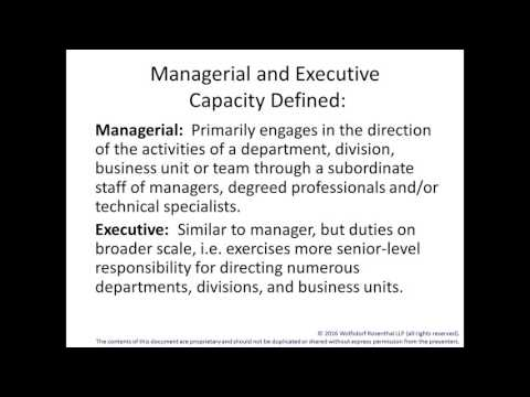 L Visa Series - Part 1: L-1A Executive Managerial Employees 3/10/2016