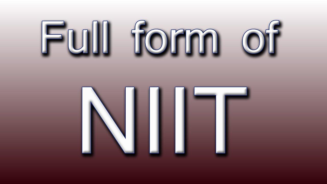 Full form of NIIT - YouTube