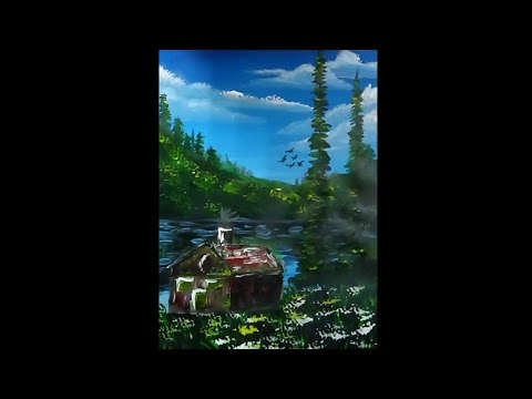 acrylic painting time lapse (summer landscape with hut)