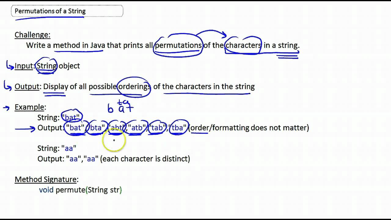 Permutations of a string computer science challenge part for What can you make out of string