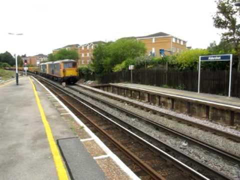 73204 73207 with an engineering train passing aldershot 14 08 2011