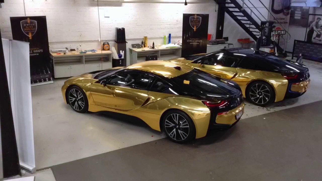 Twin Bmw I8 Full Mirror Gold Wrap Youtube