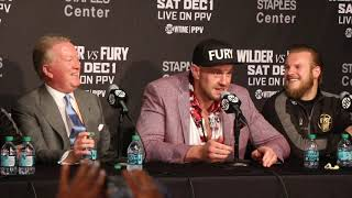 EPIC! - TYSON FURY BURSTS OUT INTO SINGING 'AMERICAN PIE' IN THE MIDDLE OF PRESSER / WILDER-FURY