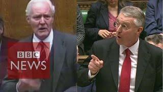 Tony Benn v Hilary Benn on war votes - BBC News