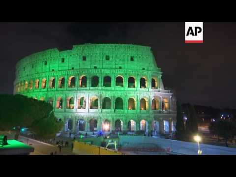 Colosseum turns green for St Patrick's Day