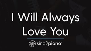 I Will Always Love You  Piano Karaoke Instrumental  Whitney Houston