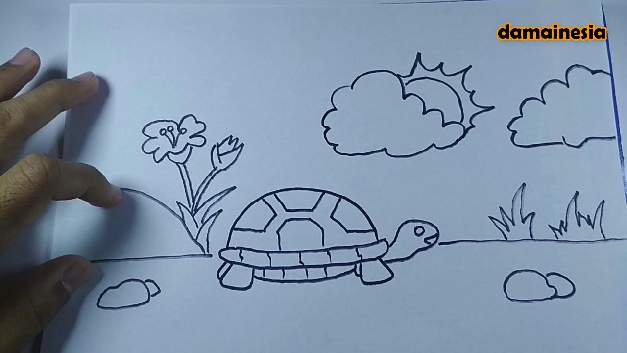 Cara Menggambar Kura Kura How To Draw Turtle Part 173 By