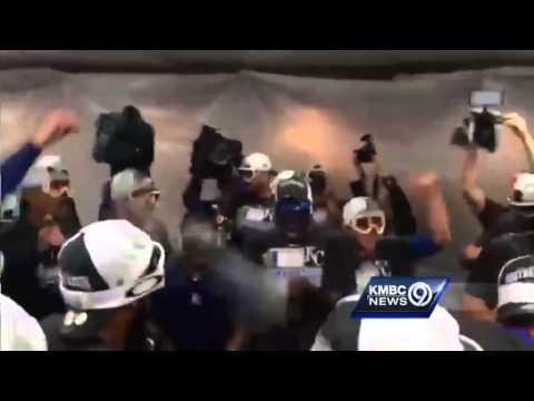 Kansas City Royals Pop Champagne To Celebrate Playoff Berth