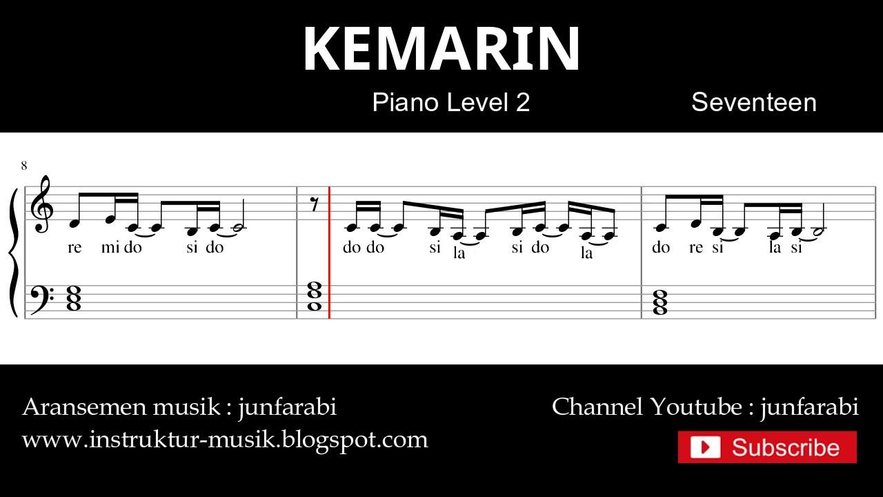 Not Balok Kemarin Seventeen Tutorial Piano Level 2 Youtube