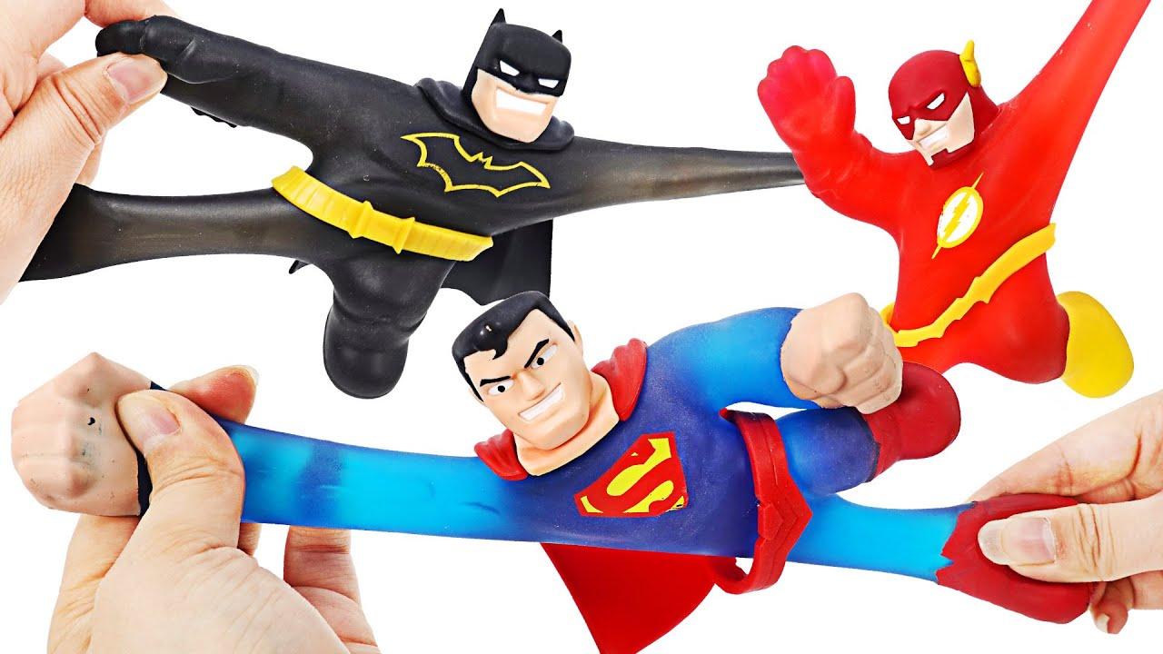 마블 히어로즈 오브 구짓주 배트맨과 슈퍼맨! 질퍽하고 늘어나는 히어로! | 두두팝토이