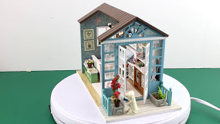 "DIY Miniature Dollhouse Kit With Working Lights ""Forest Times"""