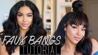 FAUX BANGS with Top Knot Bun Hair Tutorial